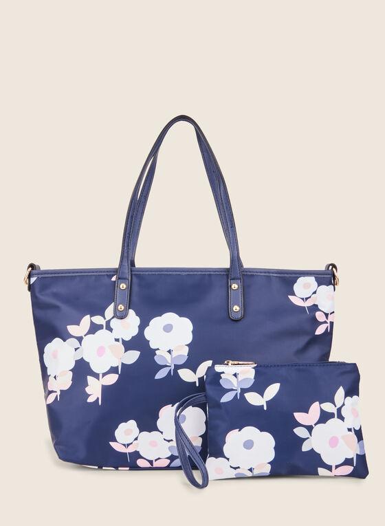 Sac fourre-tout motif floral, Bleu