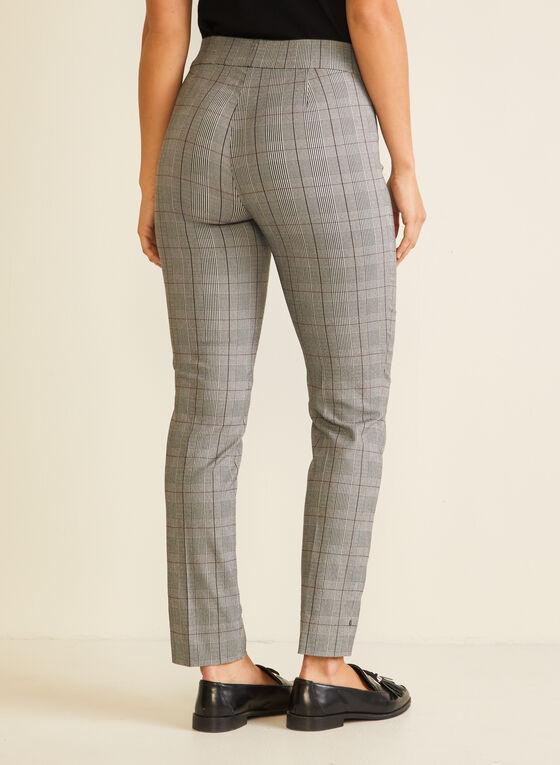 Pantalon pull-on motif tartan, Noir