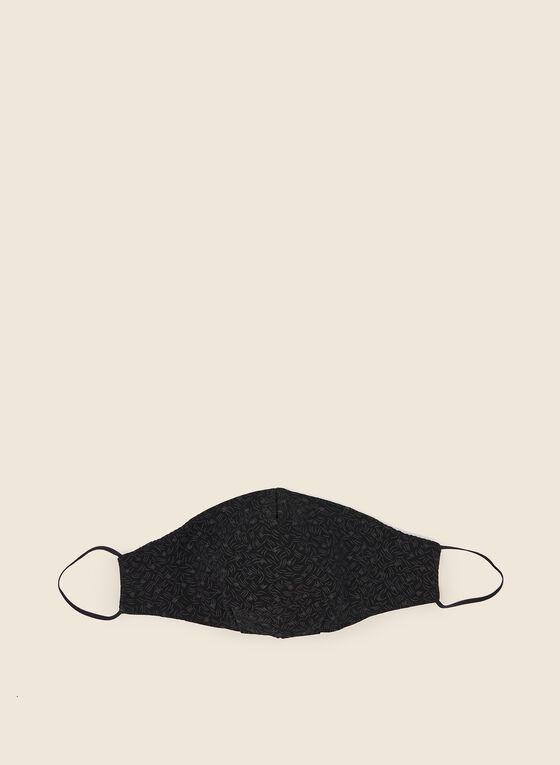 Masque en tissu motif floral, Noir