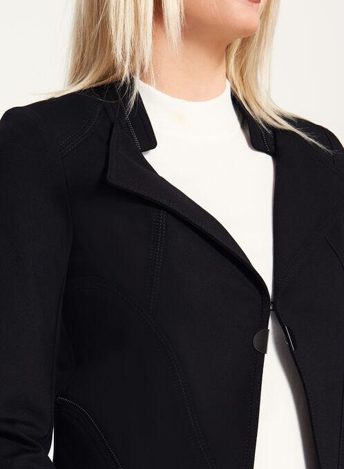 Vex - Zipper Trim Cropped Jacket, Black, hi-res