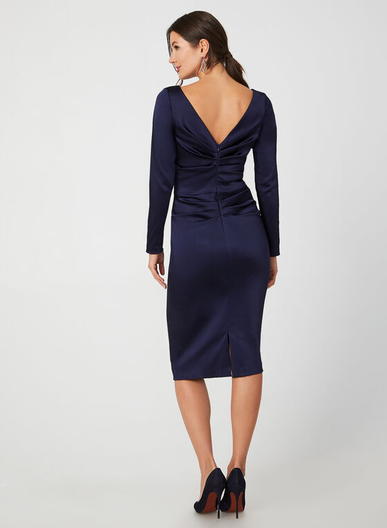 Satin Sheath Dress, Blue