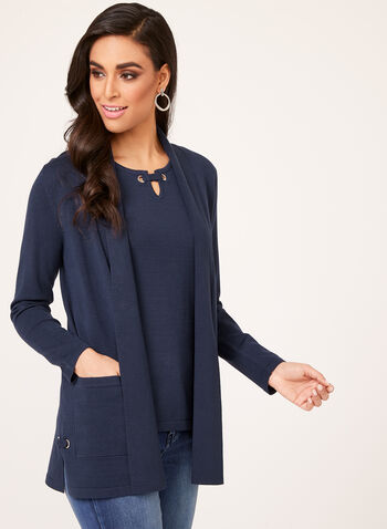 Cardigan ouvert en tricot avec oeillets, Bleu, hi-res