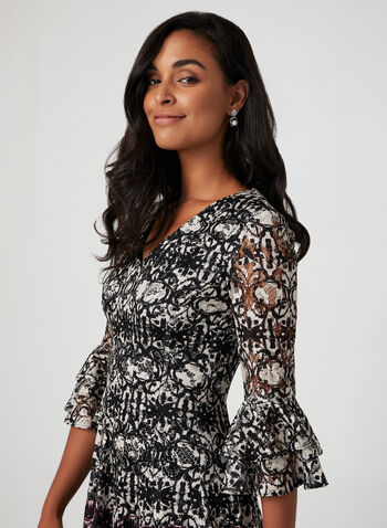 Fit & Flare Lace Dress, Black,  fall winter 2019, lace silhouette, v-neck, long sleeves
