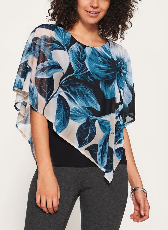 Blouse poncho asymétrique à motif floral, Bleu, hi-res