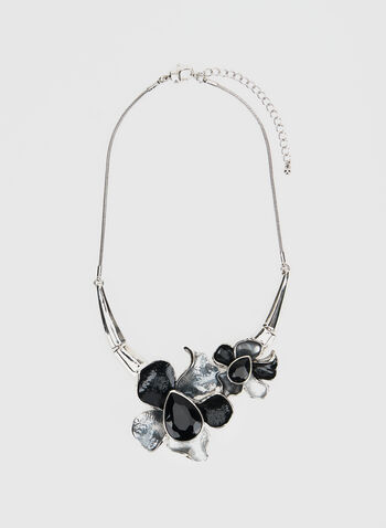Three-Tone Flower Necklace, Black,  necklace, flower necklace, flowers, rhinestones, fall 2019, winter 2019