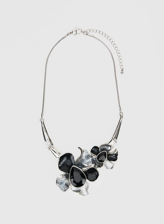 Three-Tone Flower Necklace, Black