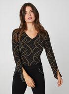 Long Sleeve Chain Print Top, Black