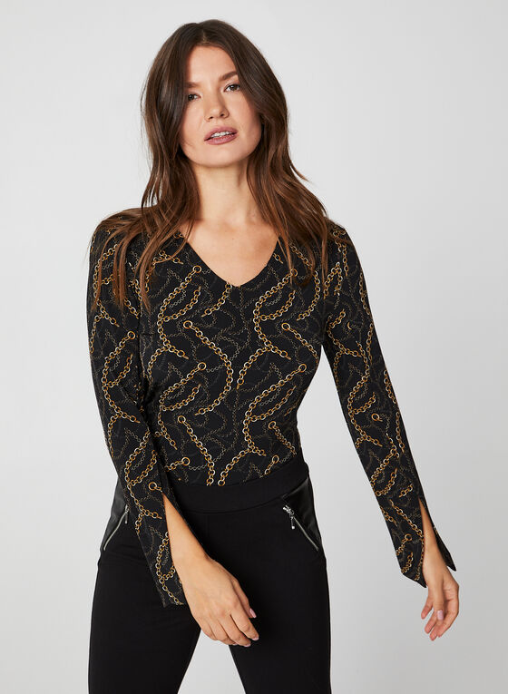 Long Sleeve Chain Print Top, Black