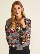 Floral Print Bomber Jacket, Grey