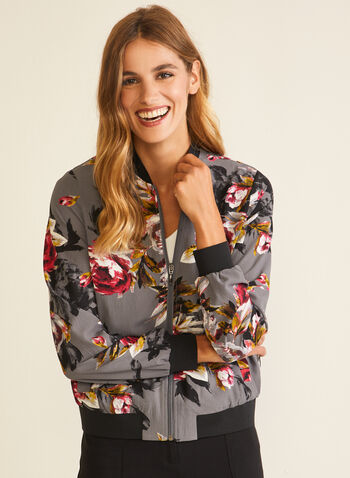Floral Print Bomber Jacket, Grey,  bomber, floral, zip, pockets, fall winter 2020