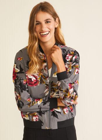 Blouse aviateur à fleurs, Gris,  blouson aviateur, floral, zip, poches, automne hiver 2020