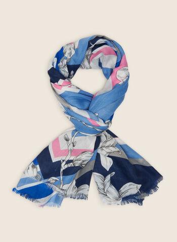 Foulard oblong fleuri et géométrique, Bleu,  foulard, oblong, fleurs, géométrique, franges, printemps été 2020