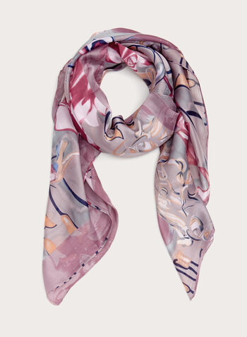 Abstract Print Oblong Scarf, Purple, hi-res