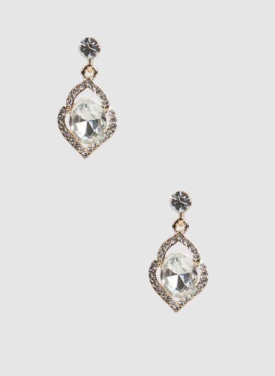 Boucles d'oreilles à pierres et cristaux, Or, hi-res