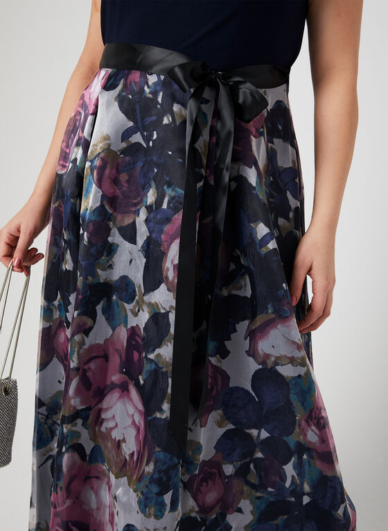 Floral Print Cleo Neck Dress, Blue