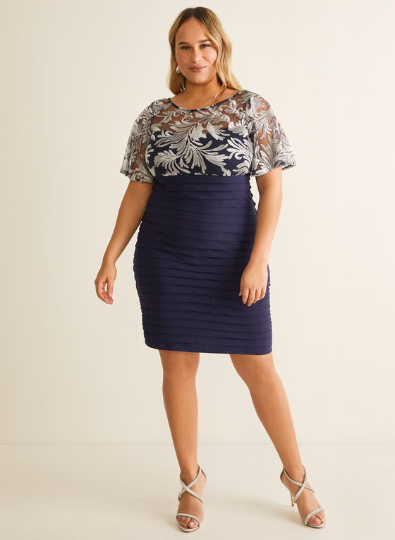 Embroidery Detail Tiered Dress, Blue