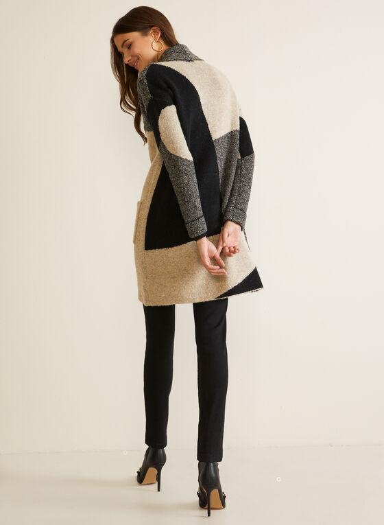 Cardigan long à blocs de couleurs, Noir