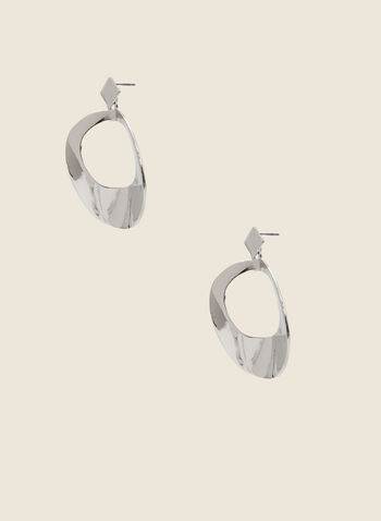 Round Metallic Dangle Earrings, Silver,  earrings, round, metallic, open, hammered, fall winter 2020