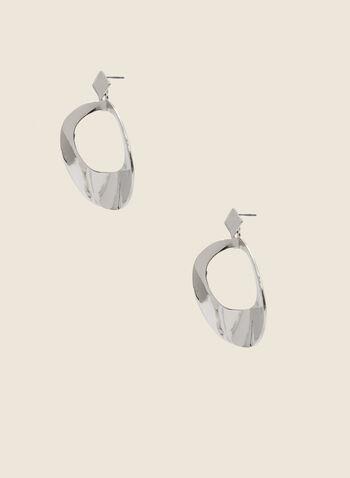 Boucles d'oreilles à pendants ronds ajourés, Argent,  boucles d'oreilles, ronds, ajours, martelé, métal, automne hiver 2020