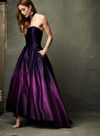 Ombré High-Low Satin Ball Gown, Purple, hi-res
