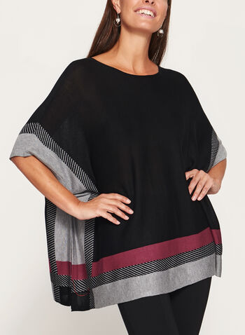 Lightweight Colour Block Poncho, Red, hi-res