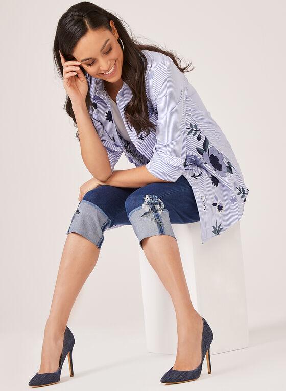 Simon Chang - Capri Floral Jeans, Blue, hi-res