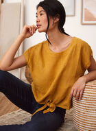 Charlie B - Linen Tie Front Blouse, Yellow