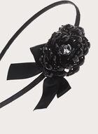 Serre-tête avec fleur en pierre et nœud en velours, Noir, hi-res