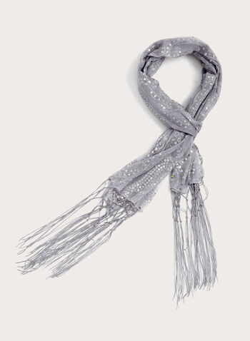 Fringed Sequin Scarf, Silver, hi-res