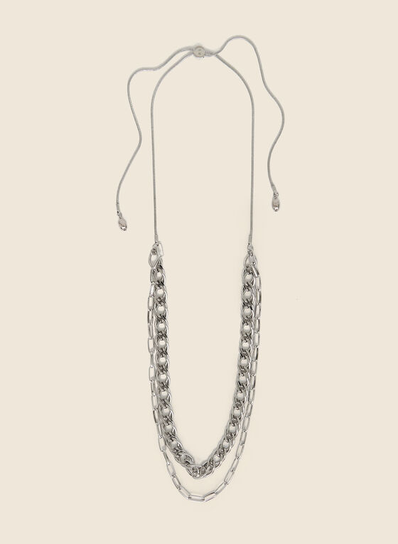 Adjustable Double Chain Necklace, Silver