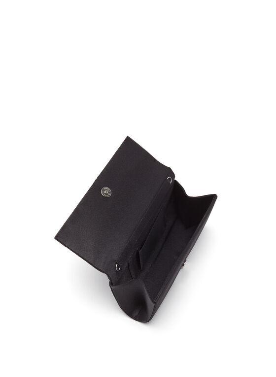 Pleated Satin Foldover Clutch, Black, hi-res