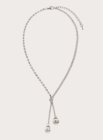 Pearl Detail Crystal Chain Necklace , Off White, hi-res