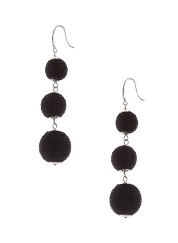 Round Tiered Earrings, Black, hi-res