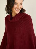 Shawl Collar Knit Poncho, Red