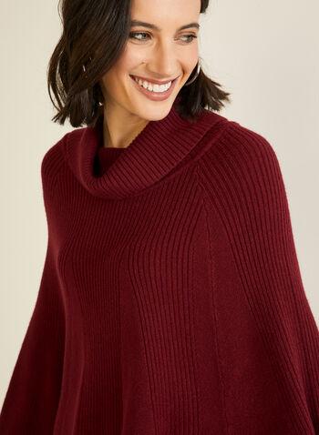 Shawl Collar Knit Poncho, Red,  fall winter 2020, poncho, sweater, knit, shawl collar, holiday