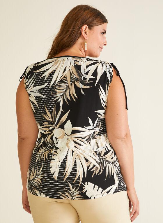 Tropical Print Tie Detail Top, Black