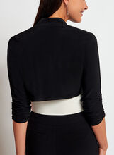 Jersey Stand Collar Bolero, Black, hi-res