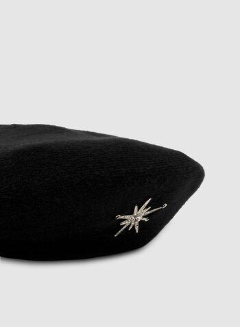 Béret à épinglette étoile, Noir, hi-res,  chapeau, béret, épinglette, étoile, automne hiver 2019
