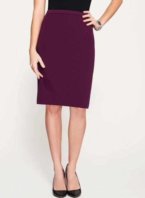Ponte Back Slit Pencil Skirt, Purple, hi-res