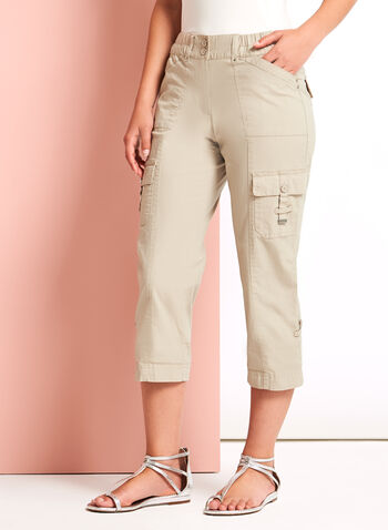 Modern Fit Cargo Capris, Grey, hi-res