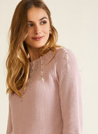 Sweater With Pearls And Rhinestones, Pink