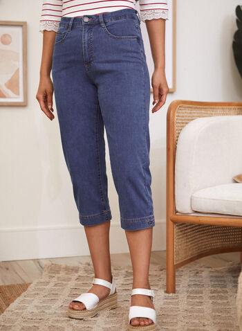 High Rise Denim Capris, Blue,  spring summer 2021, made in Canada, high rise, high waisted, straight leg, 5 pocket, zip and button closure, belt loops, stretch denim, capris, capri pants, capri jeans, cropped jeans