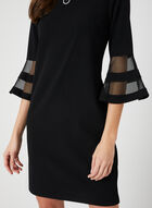 Illusion Sleeve Sheath Dress, Black, hi-res