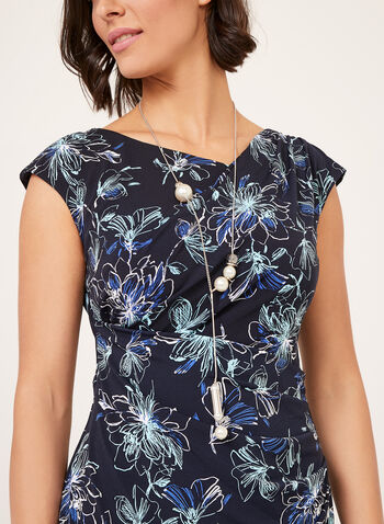 Floral Print Draped Dress, Blue, hi-res