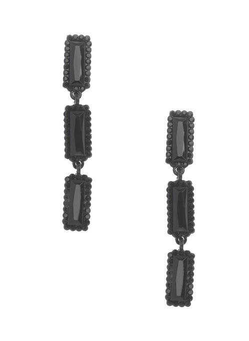 Tiered Rectangular Stone Earrings, Black, hi-res