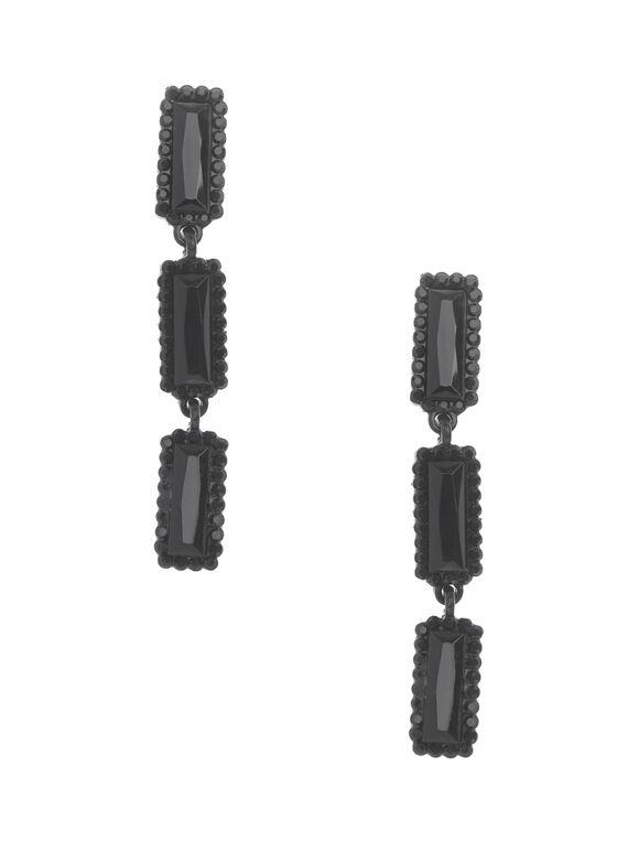 Boucles d'oreilles géométriques étagées, Noir, hi-res