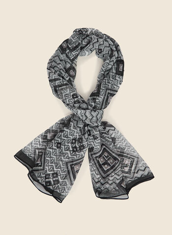 Geometric Print Lightweight Scarf, Black,  scarf, lightweight, geometric, chiffon, fall winter 2020