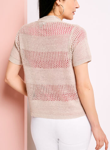 Short Sleeve Pointelle Linen Cardigan, , hi-res