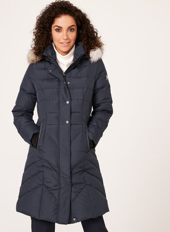Novelti - Faux Fur Trim Quilted Down Coat, Blue, hi-res