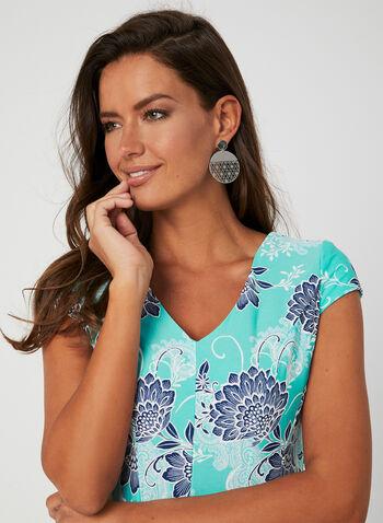 Sandra Darren - Robe à imprimé floral, Bleu, hi-res,  jersey, texturé, manches cape, encolure V, printemps été 2019